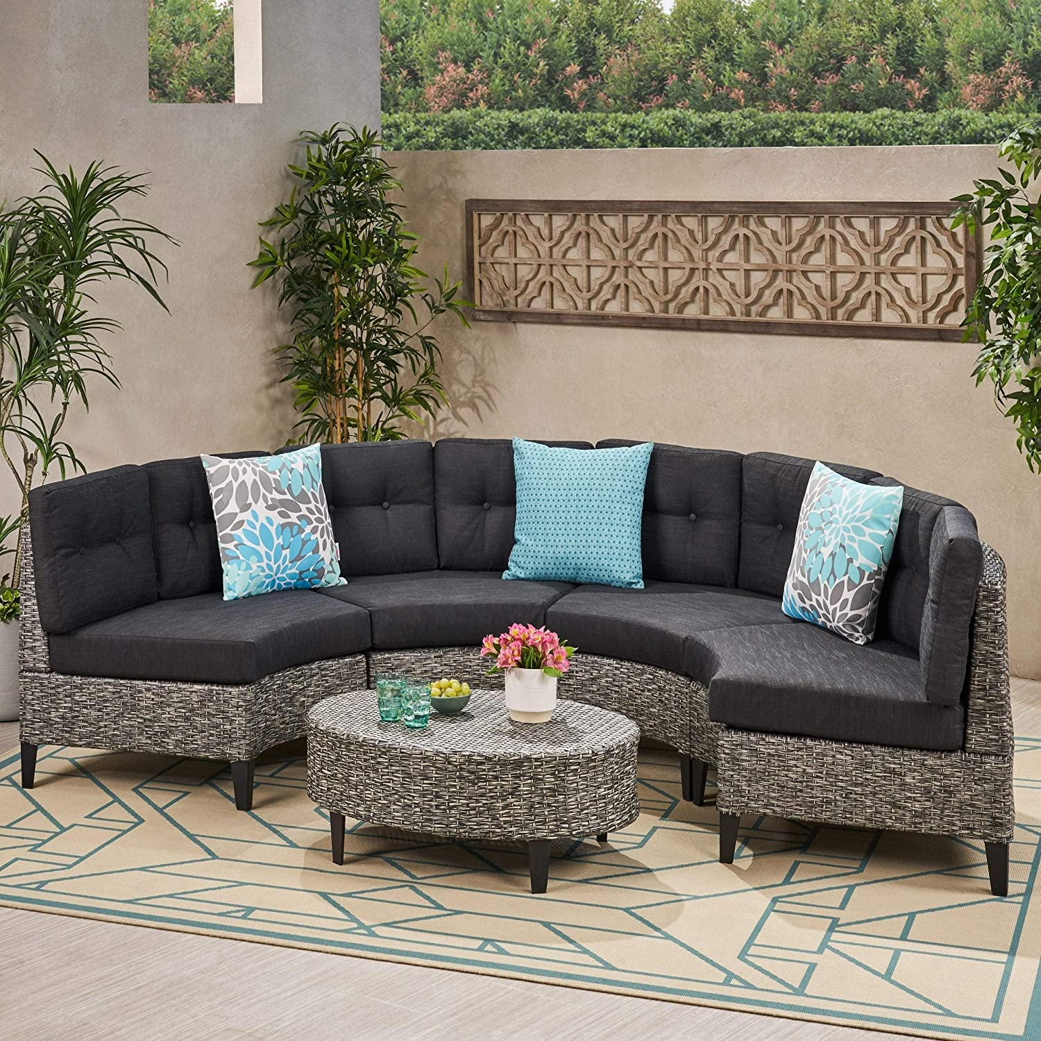 Outdoor 5-Piece Wicker Sofa Opening large release sale Set Grey Modern Cushions Max 73% OFF Black with