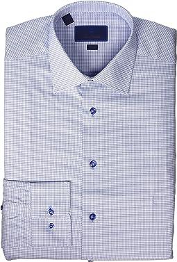 Trim Fit Two Tone Mini Basketweave Dress Shirt
