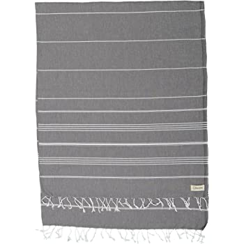 Bersuse 100% Cotton - Anatolia XL Throw Blanket Turkish Towel - Sofa Bed or Couch Cover, Picnic Blanket - Large Peshtemal Beach Towel - Oeko-TEX - 61 x 82 Inches, Anthracite (Set of 3)