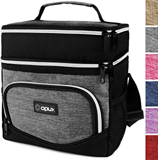 OPUX Insulated Dual Compartment Lunch Bag, Double Deck Lunch Box for Men Women Kids  Soft Leakproof Lunch Tote Cooler for Work Office School   Medium Reusable Lunch Pail, Fits 8 Cans (Heather Grey)