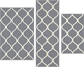 Maples Rugs Rebecca [3pc Set] Non Kid Accent Throw Rugs Runner [Made in USA] for Entryway and Bedroom, Grey/White