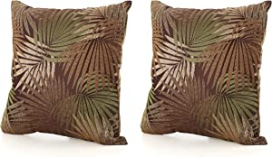 GDFStudio Corona Outdoor Square Tropical Water Resistant Pillow (2, Tropical Brown)