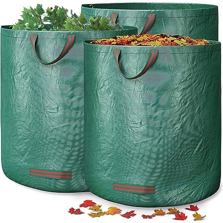 GardenGloss® 3X Sacs à Déchets de Jardin Avec Poignées - 272L Haute Capacité et Double Fond - Stable Aux UV et Hydrofuge - Sac de Jardin Réutilisable et Stable