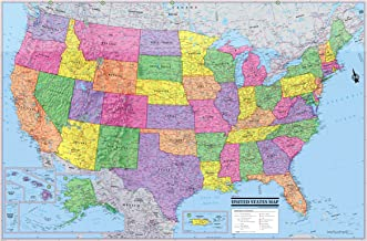 United States 3D Wall Map Poster 36x24 Rolled Laminated - 2019