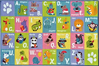 Kev & Cooper Playtime Collection ABC Alphabet Animal Educational Area Rug - 5'0