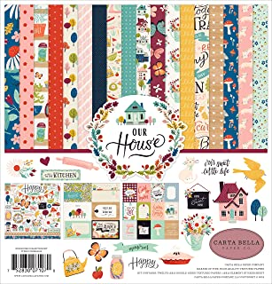 Carta Bella Paper Company CBOH94016 Our House Collection Kit Paper, Blue/Red/Plack/Teal/Plum/Green