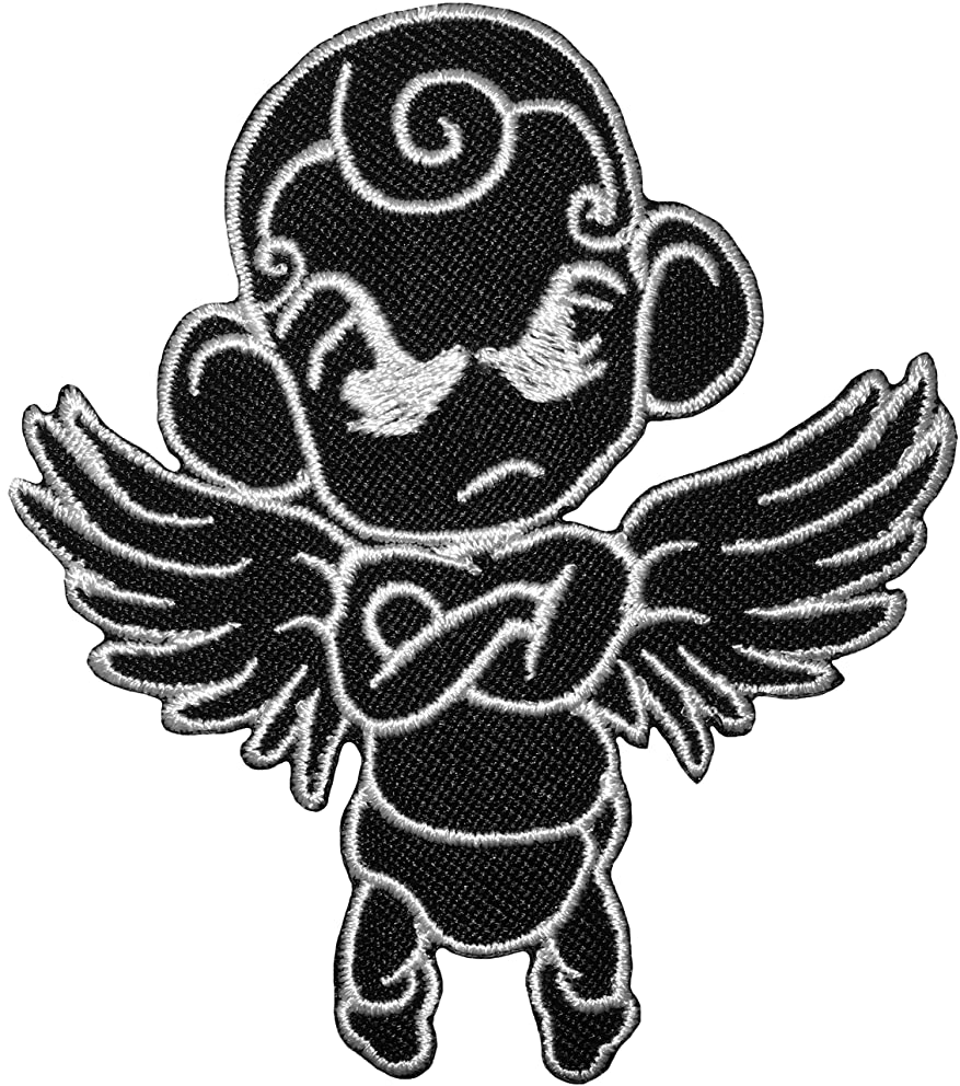 Papapatch Cute Baby Angel Cupid Thinking Funny Cartoon Sew on Iron on Embroidered Applique Patch - Black (IRON-THINK-CUPID-BK)