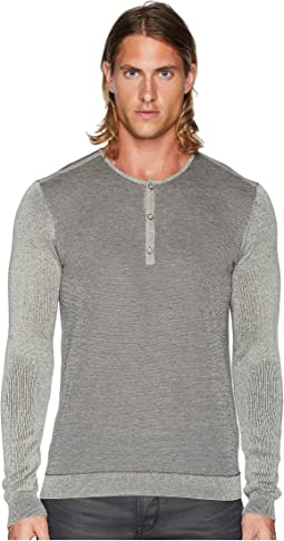 Long Sleeve Texture Stitch Henley Y2430U2