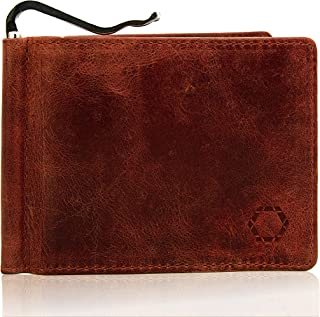 Men's Slim Wallet with Money Clip, Buffalo Brown Leather, RFID NFC Blocking Electronic Theft Protection, Without Coin Bag,...
