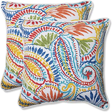 """Pillow Perfect 572598 Outdoor/Indoor Ummi Throw Pillows, 18.5"""" x 18.5"""", Multicolored"""