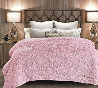 Chanasya Super Soft Shaggy Longfur Throw Blanket | Snuggly Fuzzy Faux Fur Lightweight Warm Elegant Cozy Plush Sherpa Fleece Microfiber Blanket | for Couch Bed Chair Photo Props - Twin - Pink