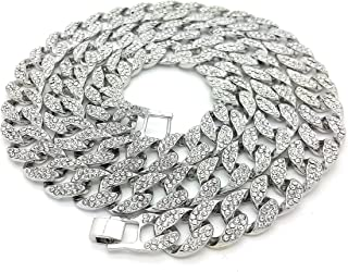 Mens Iced Out Hip Hop Silver CZ Miami Cuban Link Chain 8