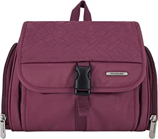 Travelon Flat-Out Hanging Toiletry Kit Quilted, Plum, One Size