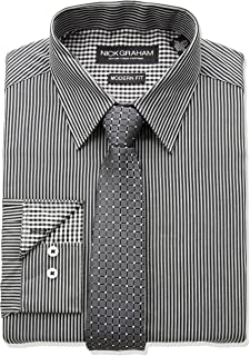 Nick Graham Men's Long Fine Line Stripe Dress Shirt with Geo Dot Tie Set