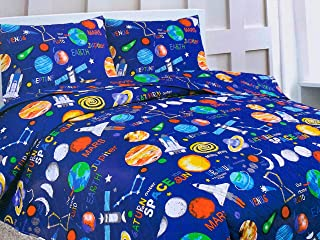 Sapphire Home 2 Piece Twin Size Kids Boys Teens Bedspread Coverlet Quilt Set with Sham, Space Planets Rockets Blue Print Blue Multicolor Boys Kids Bedding Set, Twin Bedspread Space