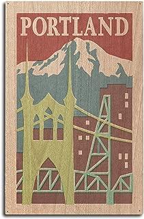 Lantern Press Portland, Oregon - Woodblock (10x15 Wood Wall Sign, Wall Decor Ready to Hang)