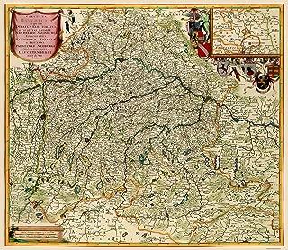 MAPS OF THE PAST Germany Bavaria Region - De Wit 1688-23 x 26.45 - Matte Canvas