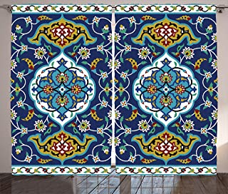 Ambesonne Moroccan Curtains, Oriental Motif with Vintage Byzantine Style Tile Effects Artwork, Living Room Bedroom Window Drapes 2 Panel Set, 108