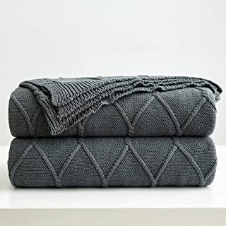 100% Cotton Dark Grey Cable Knit Throw Blanket for Couch, Sofa with Bonus Laundering Bag – Large 50 x 63 Inch Thick, Extra Cozy, Machine Washable, Comfortable Home Decor, Charcoal Color