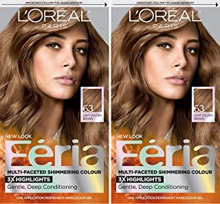 L'Oreal Paris Feria Multi-Faceted Shimmering Permanent Hair Color, 63 Sparkling Amber, 2 Count Hair Dye