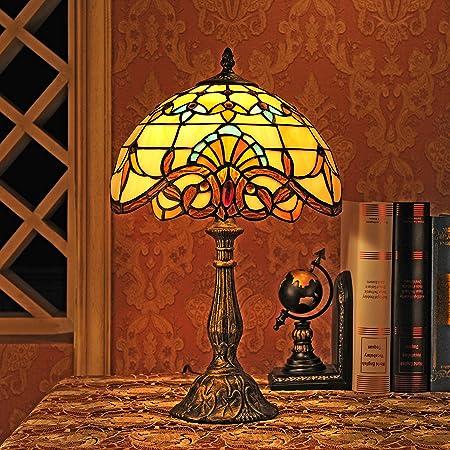 Gweat 12-Pouce Baroque Européenne Tiffany Lampe De Table Chambre Lampe Lampe De Chevet
