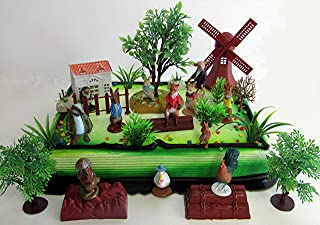Cake Toppers Beatrix Potter Peter Rabbit Birthday Set Featuring Peter Rabbit and Friends Figures with Decorative Themed Accessories
