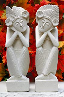 G6 Collection Hand Carved Limestone Sculpture Set of 2, a Man and a Woman Dreaming Limestone Statue Home Decor Handmade Handcrafted Gift Decorative Figurine Accent Decoration Artwork Stone (8