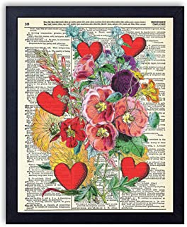 Blossoming Love Hearts and FLowers Vintage Wall Art Upcycled Dictionary Art Print Poster 8x10 inches, Unframed