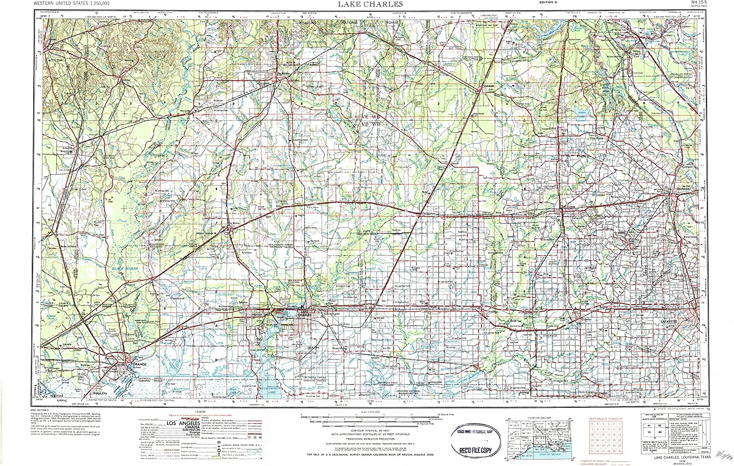Lake Charles LA topo map, 1 250000 Scale, 1 X 2 Degree, Historical, 1954, Updated 1984, 22 x 34.1 in