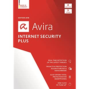 Avira Internet Security Plus 2018 Antivirus Software (ESD) incl. System Speedup / Anti-Virus Protection and PC Maintenance Software (3-Year Licence) for 4 Devices / Download for Windows, Mac & Android [Online Code]