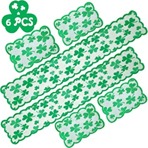 90shine 6PCS St Patricks Day Decorations Table Runners Placemats Saint Shamrock Green Lace Embroidered Irish Clover Party Decor Supplies