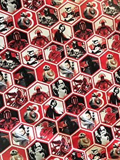 Golden Gift Box Disney Star Wars Christmas Wrapping Paper- Star Wars Wrapping Paper - Featuring: Kylo REN, BB8, REN, Storm Troopers, Captain Phasma - 1 Roll (Red and White - 60sf)