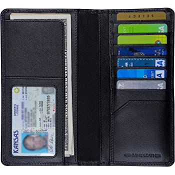 Vintage Look Genuine Leather Short Checkbook Cover Bi-fold RFID Blocking Wallet Gift for Him for Her
