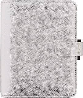 $33 » Filofax 2021 Saffiano Metallic Silver - Pocket, 6 Rings, Includes Week On 2 Pages Calendar Diary, Multilingual (C028755-21)