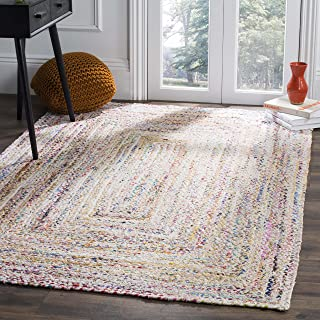 Safavieh Braided Collection BRD210B Handwoven Ivory and Multicolored Area Rug (3' x 5')