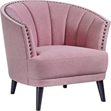 Home Canvas SOPHIE Club Chair [Pink] Upholstered Chair for Living Room - Studded Detailing, Solid Wood Legs   Accent Chairs