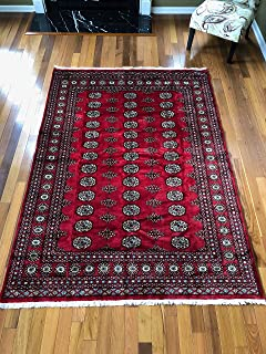 Stampa Rugs 7' 10'' x 5' 7'' (ft)-Red Hand Knotted | Red Bokhara Rug| Mori Gola Style | Pakistani Bokhara Rug | Wool Made Living Room Big Rug