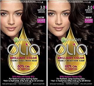 Garnier Olia Ammonia-Free Brilliant Color Oil-Rich Permanent Hair Color, 3.0 Darkest Brown (Pack of 2) Brown Hair Dye