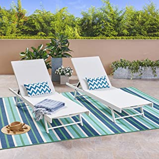 Christopher Knight Home 304998 Simon Outdoor Aluminum and Mesh Chaise Lounge (Set of 2), White