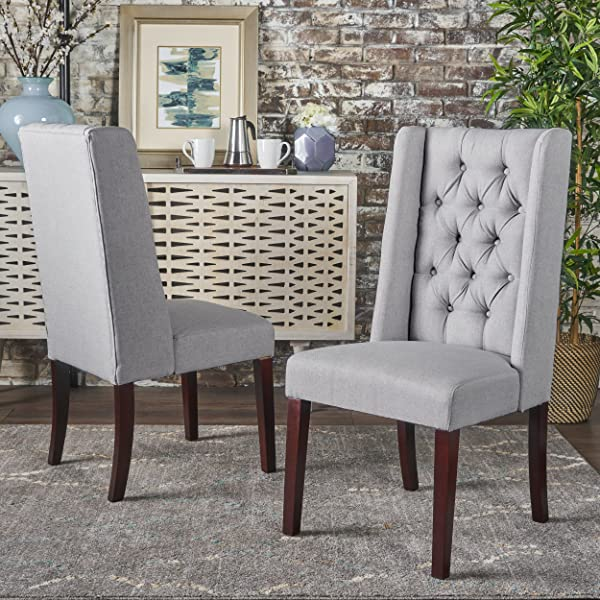 Christopher Knight Home 302096 Blythe Dining Chair Set Light Grey Brown