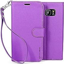 Galaxy S7 Edge Case, BUDDIBOX [Wrist Strap] Premium PU Leather Wallet Case with [Kickstand] Card Holder and ID Slot for Samsung Galaxy S7 Edge, (Purple)