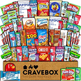 CraveBox Care Package (60 Count) Snacks Cookies Bars Chips Candy Ultimate Variety Gift Box Pack Assortment Basket Bundle Mixed Bulk Sampler Treats College Students Office Fall Back to School Halloween