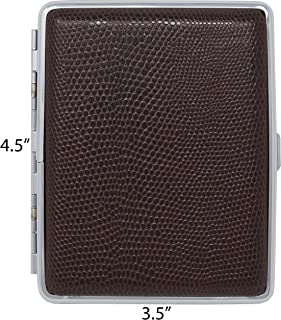 Leather Nickle-Plated Metal Cigarette Herbal Cigarette Cigar Tobacco Carrying Stash Storage Case (100s, Brown Lizard)