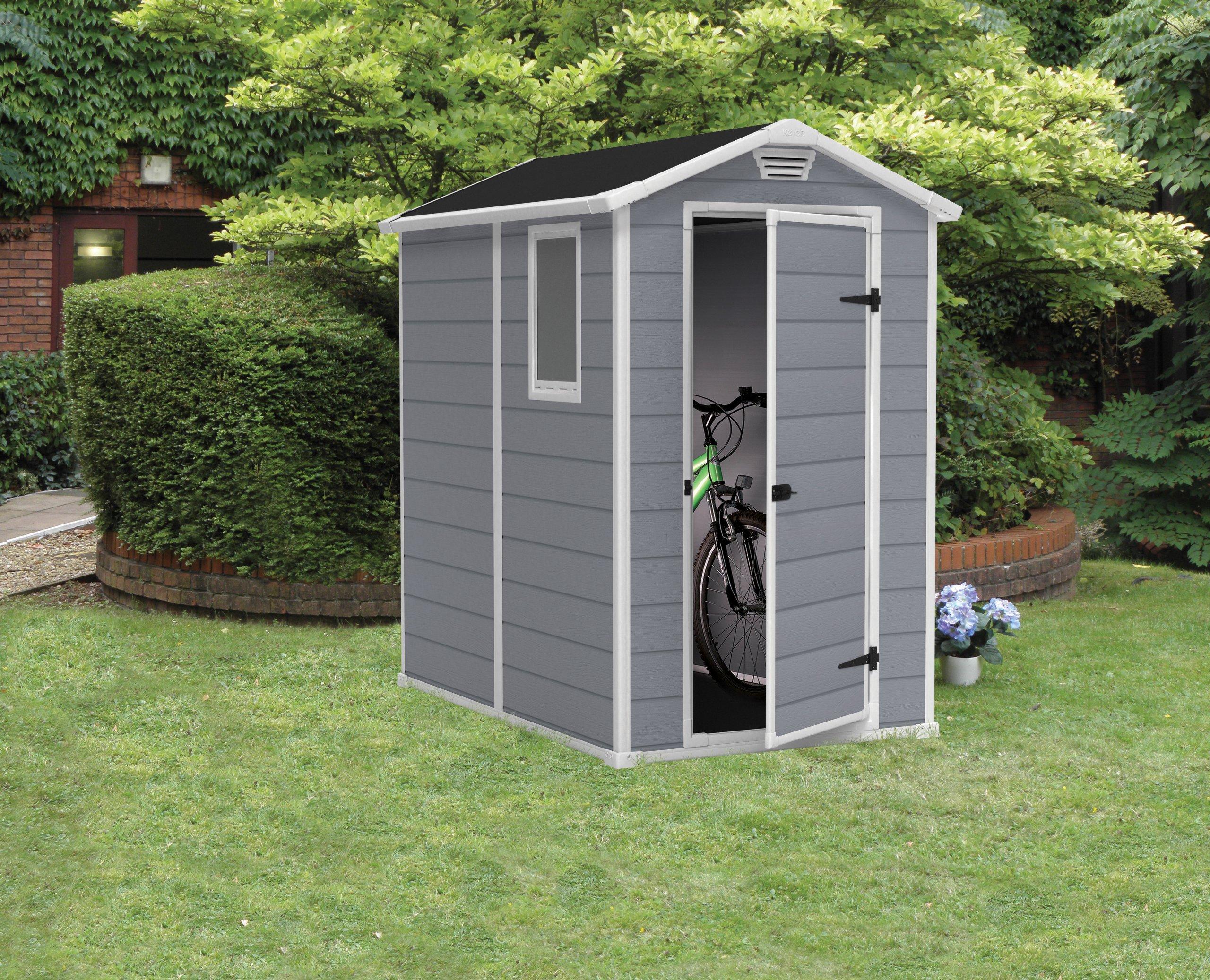 Keter Manor 4X6 S Shed- Caseta de jardín, con suelo, sistema de ventilación, puerta y ventana, resistente al agua, color gris: Amazon.es: Jardín