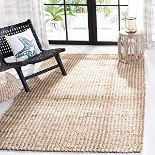 Safavieh Natural Fiber Collection NF734A Hand Woven Natural and Ivory Jute Area Rug (8' x 10')