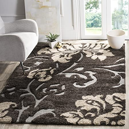 Amazon Com Safavieh Florida Shag Collection Sg458 Floral 1 2 Inch Thick Area Rug 8 X 10 Dark Brown Smoke Furniture Decor
