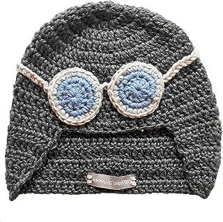 Cappellino da aviatore, cappellino da pilota, berretto da pilota, berretto da aviatore, cappello con occhiali. Azzurro. Re...