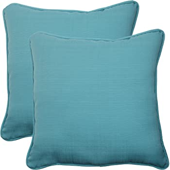 "Pillow Perfect Outdoor/Indoor Forsyth Pool Throw Pillows, 18.5"" x 18.5"", Turquoise, 2 Pack"