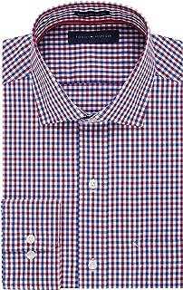 Men's Non Iron Regular Fit Check Spread Collar Dress Shirt