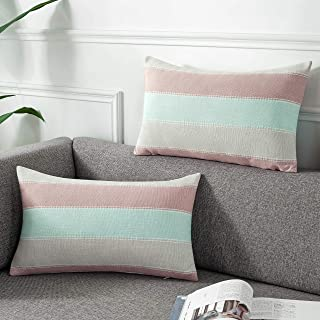 AmHoo Pack of 2 Farmhouse Stripe Check Throw Pillow Covers Set Case Cotton Linen Decorative Pillowcases Cushion Cover for Couch Bench Sofa 12x20Inch Pink Beige